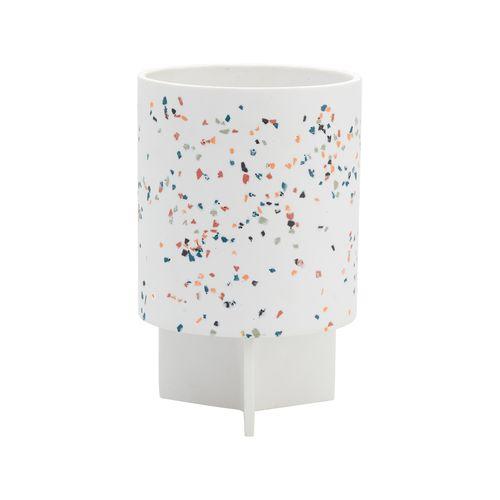 Capra 15 x 23.7cm White Terrazzo Resin Tri Stand Pot