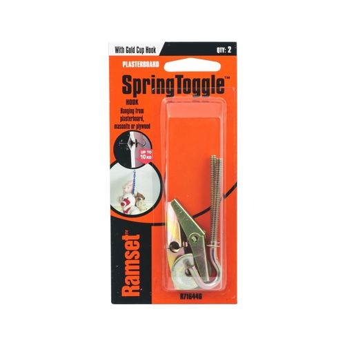 Ramset Gold Spring Toggle With Cup Hook - 2 Pack