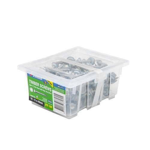 Zenith 12 - 11 x 45mm Galvanised Hex Head With Seal Timber Screws - 100 Pack