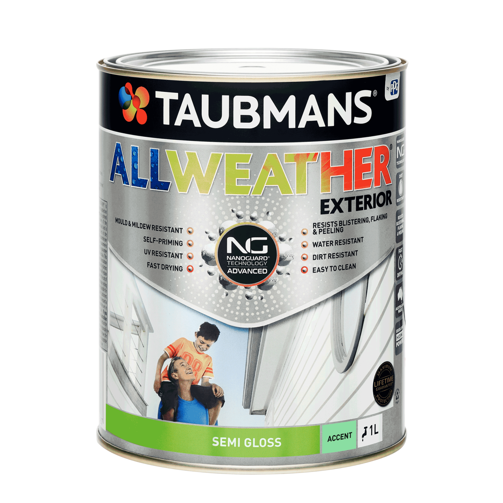 Taubmans 1L Accent Semi Gloss All Weather Exterior Paint