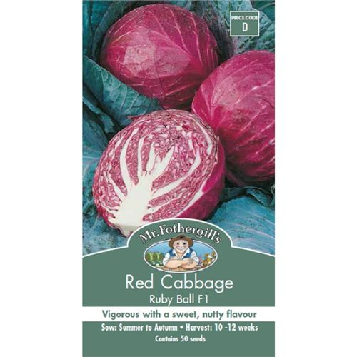 Mr Fothergill's Cabbage Red Ruby Ball F1 Seeds