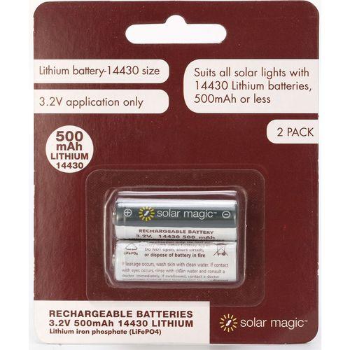 Solar Magic 500mAh Lithium Ion Rechargeable Batteries - 2 Pack