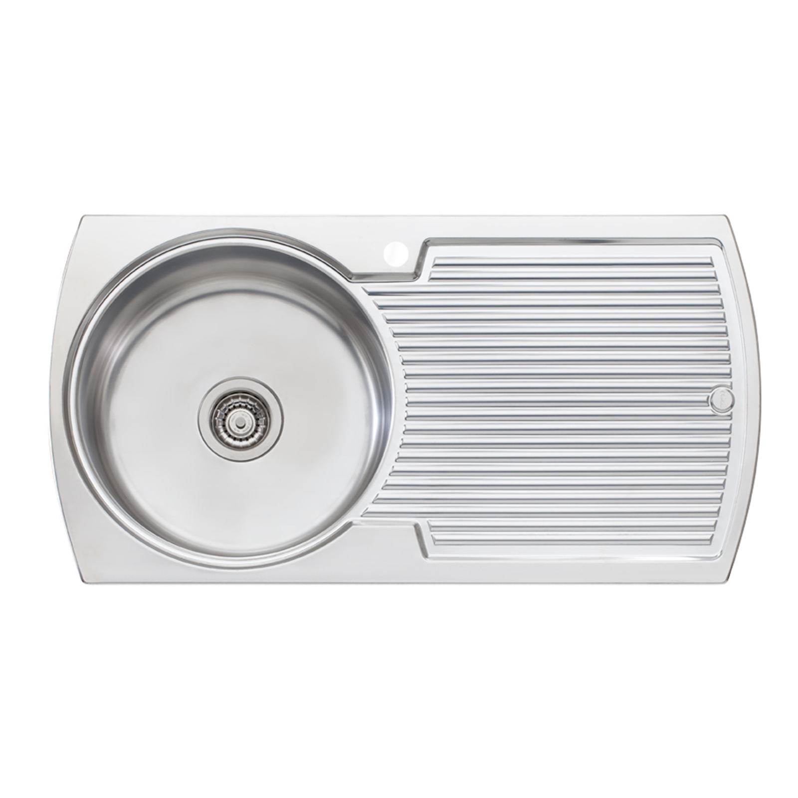 Oliveri Solitaire 950 x 500mm Left Hand Round Bowl Inset Sink With Drainer
