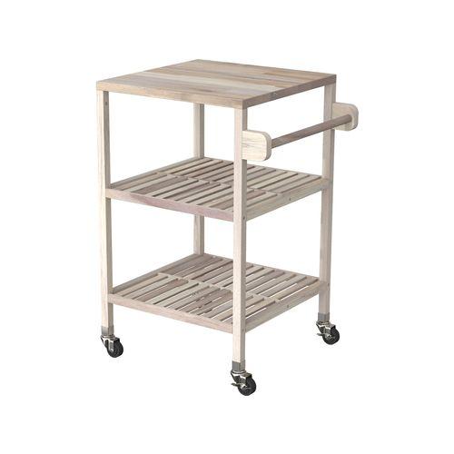 Interbuild 52 x 52 x 85cm Organic White Holger Quattro Kitchen Cart