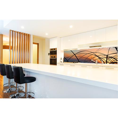 Bellessi 650 x 895 x 5mm Glass Graphic Splashback - Sunset Strands