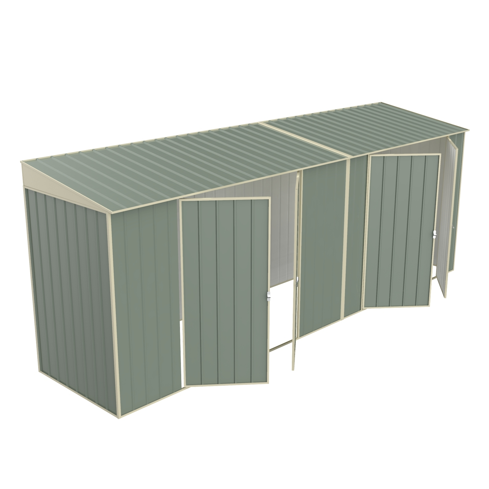 Build-a-Shed 1.2 x 5.2 x 2.0m Skillion Double Plus Dual Double Hinged Side Doors Shed - Green
