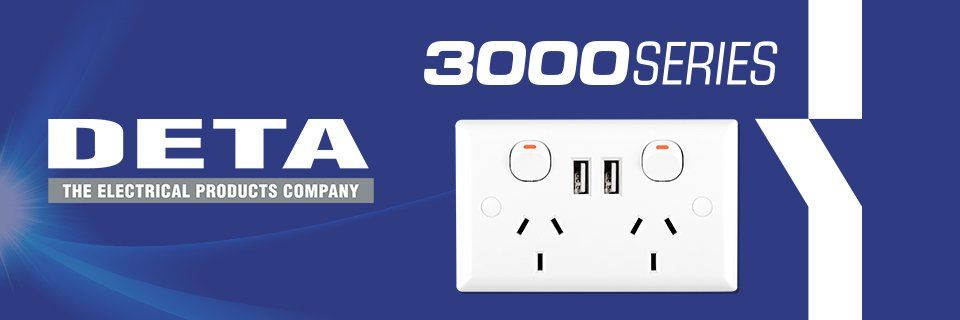 """Wall power outlet with two sockets and two USB ports with """"DETA - the Electrical Products Company"""" """"3000 Series"""""""