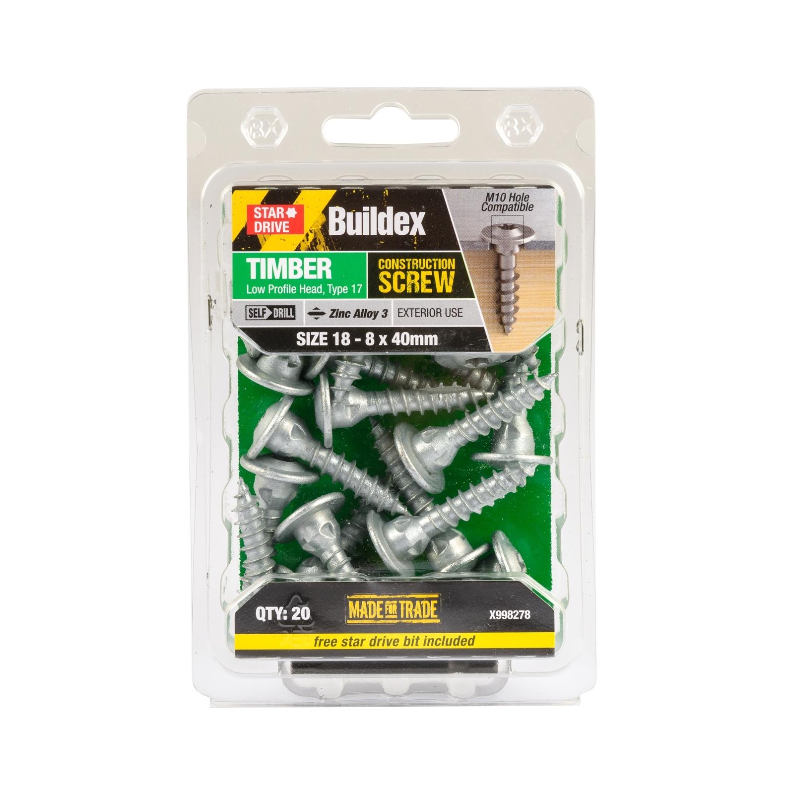Buildex® 18 - 8 x 40mm Zinc Alloy 3 Star Head Timber Construction Screws - 20 Pack