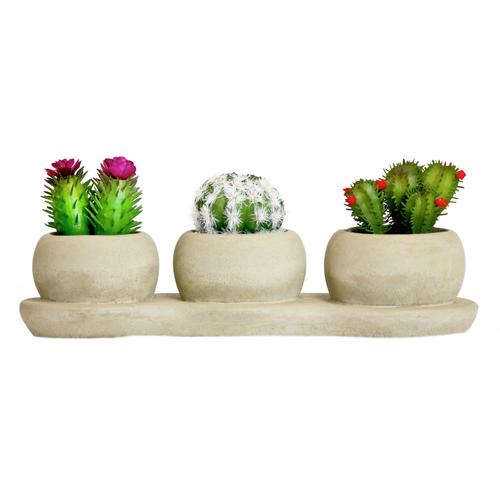 UN-REAL 20cm Artificial Trio Succulent In Concrete Pots