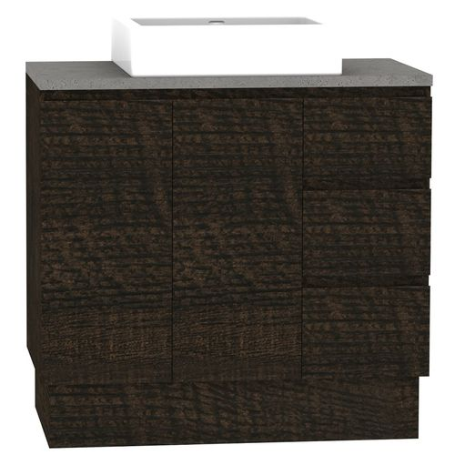 Forme 900mm Mont Albert Freestanding Vanity With Cement Stone And Comet Basin - RH Drawers - Dark Chocolate