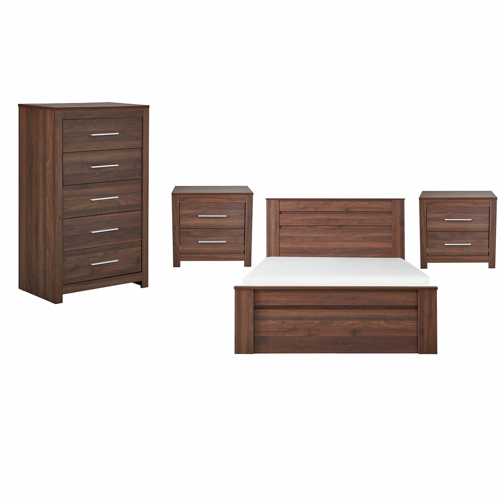 Jason 4 Piece Double Walnut Bedroom Set