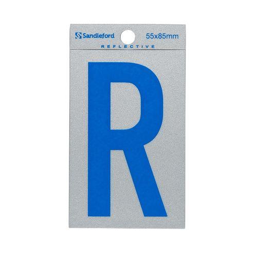 Sandleford 85 x 55mm 'R' Self Adhesive Blue Reflective Letter