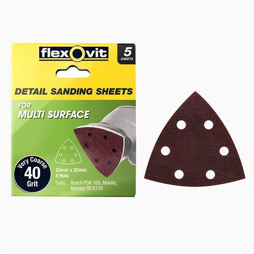 Flexovit 93 x 93mm 40 Grit 6 Hole All Surface Detail Sanding Sheet - 5 Pack