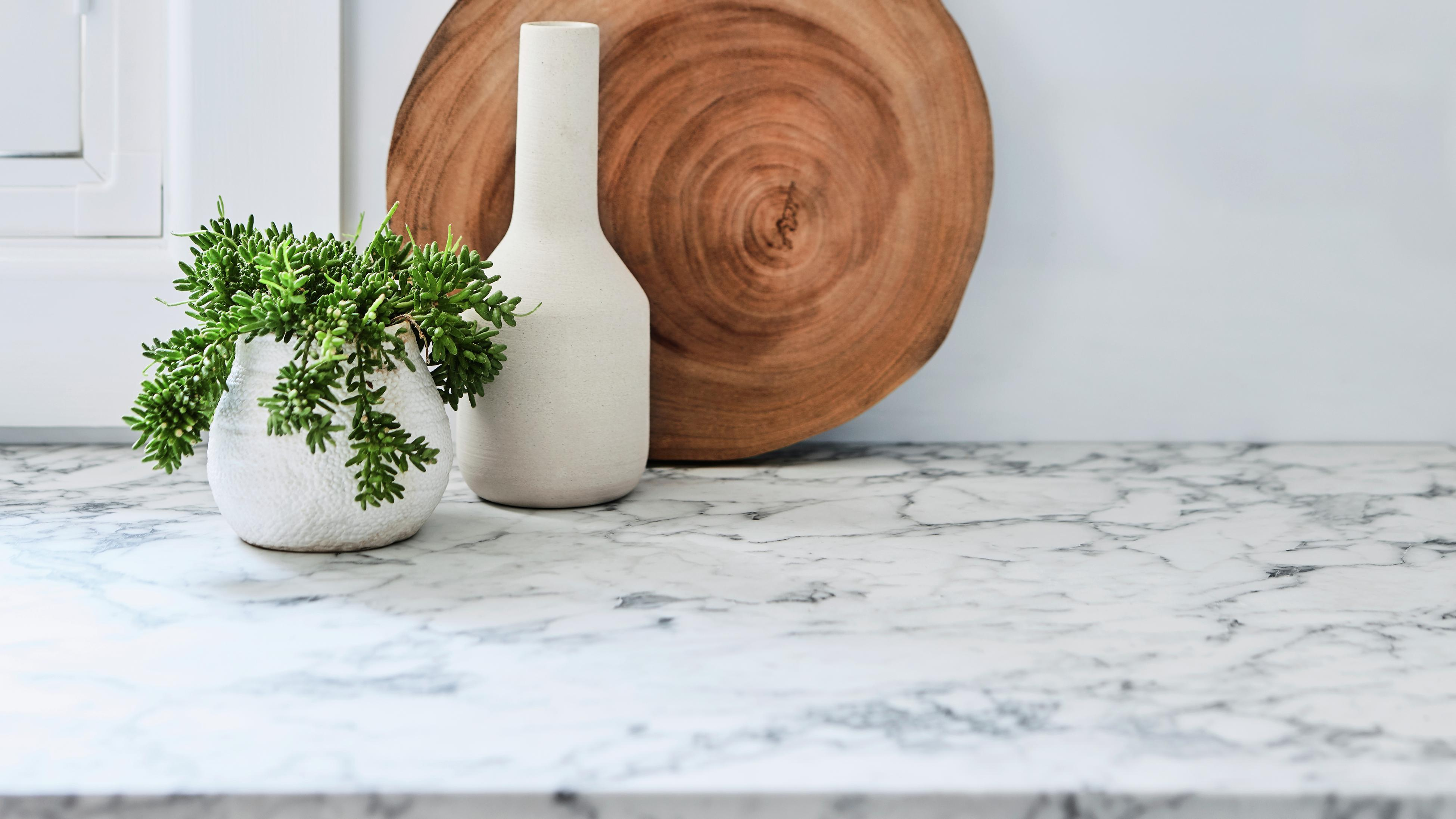 Marble benchtop with wooden chopping board and plants.