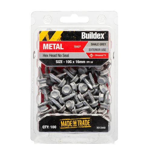 Buildex Metal C4 HexHead No Seal Tek Screws 10g x 16 mm Shale Grey Bx100