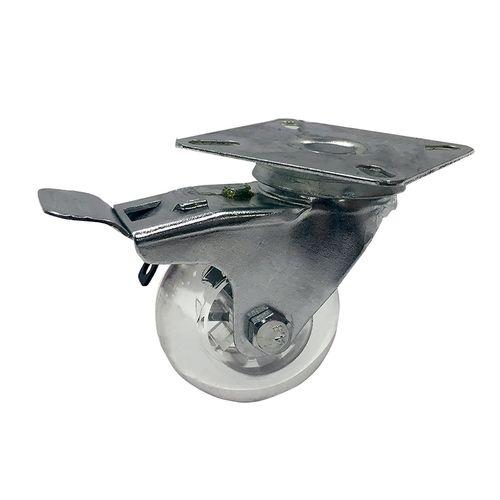 Easyroll 50mm 50kg Load Transparent Swivel Plate and Brake Castor