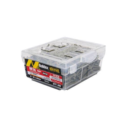 Buildex 8-18 x 30mm Climacoat Countersunk Ribbed Head Metal Tek Screws - 500 Pack