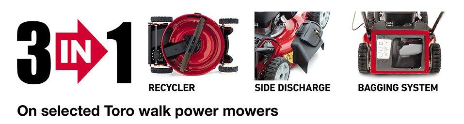3 in 1 recycler, side discharge and bagging system. On selected Toro walk power mowers.