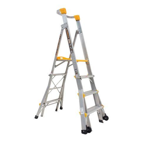 Gorilla 1.2-1.8m Heavy Duty Adjustable Aluminium Platform Ladder PL0406-HD