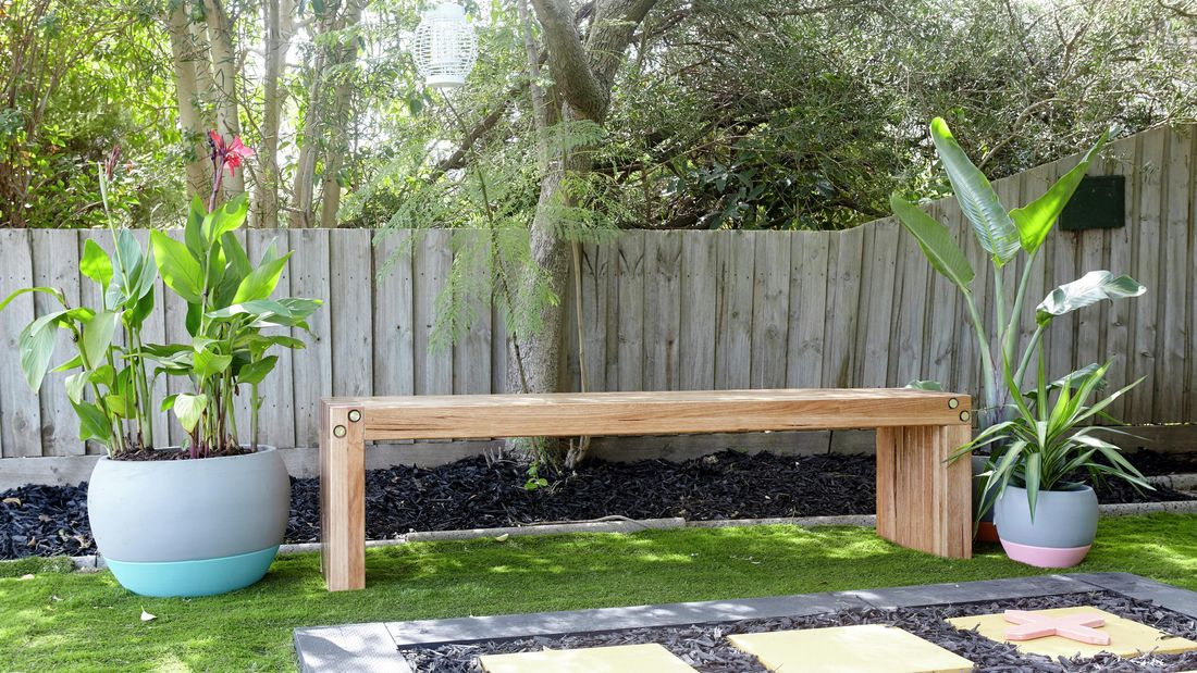 DIY Step Image - Learn how to build an outdoor garden bench . Blob storage upload.