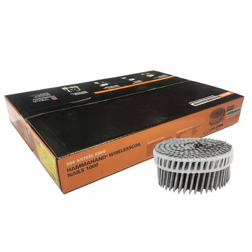 ECKO 75 x 3.15mm Round Head Stainless Steel Hammahand Wire Coil Nails - 1000 Pack