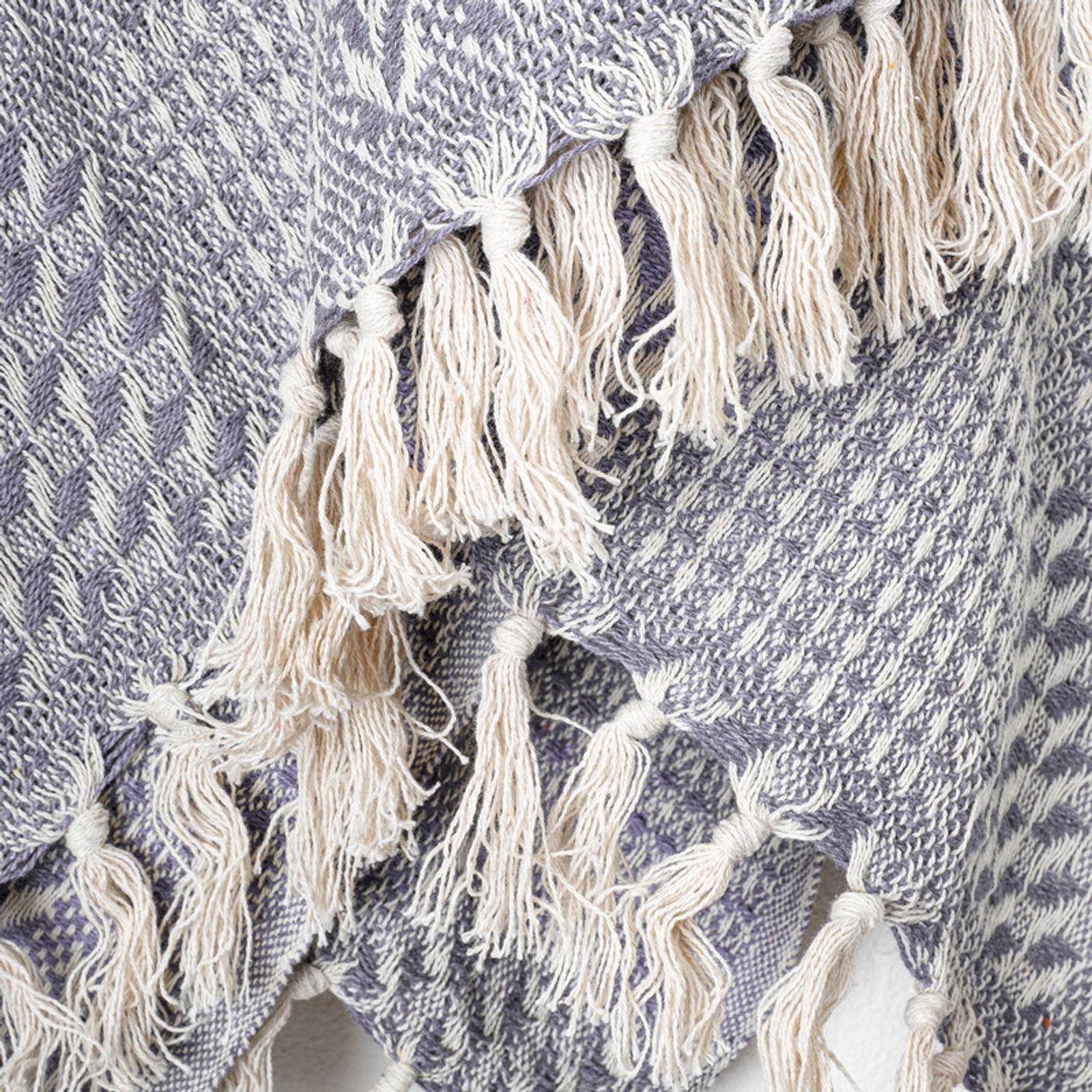 La'Grace 100% Cotton Handloom Herringbone Weave Cotton Throws - Natural 150 x 125 cm