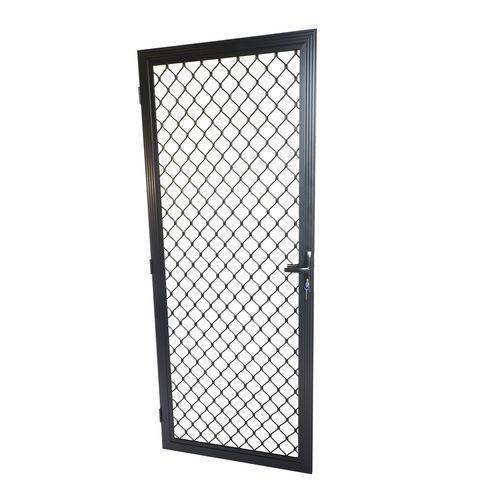 Protector Aluminium 813 x 2032mm Black Fixed Metric Grille Barrier Door