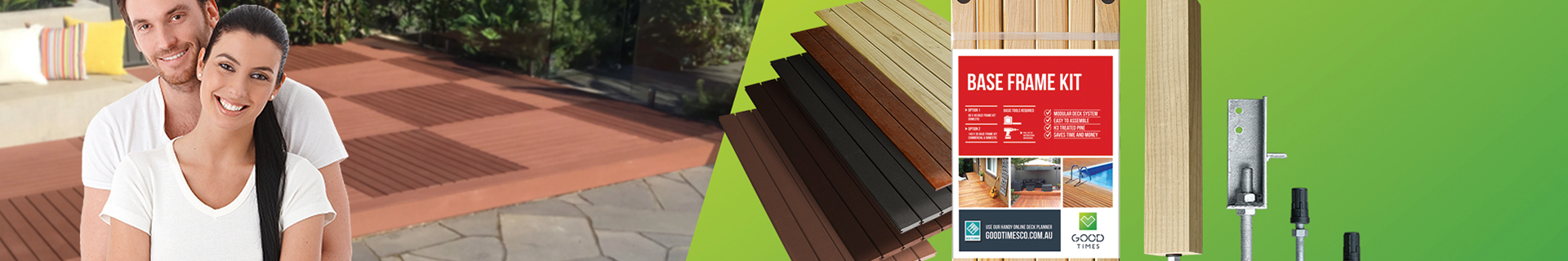 A couple and decking products on the Good Times Decking product banner.