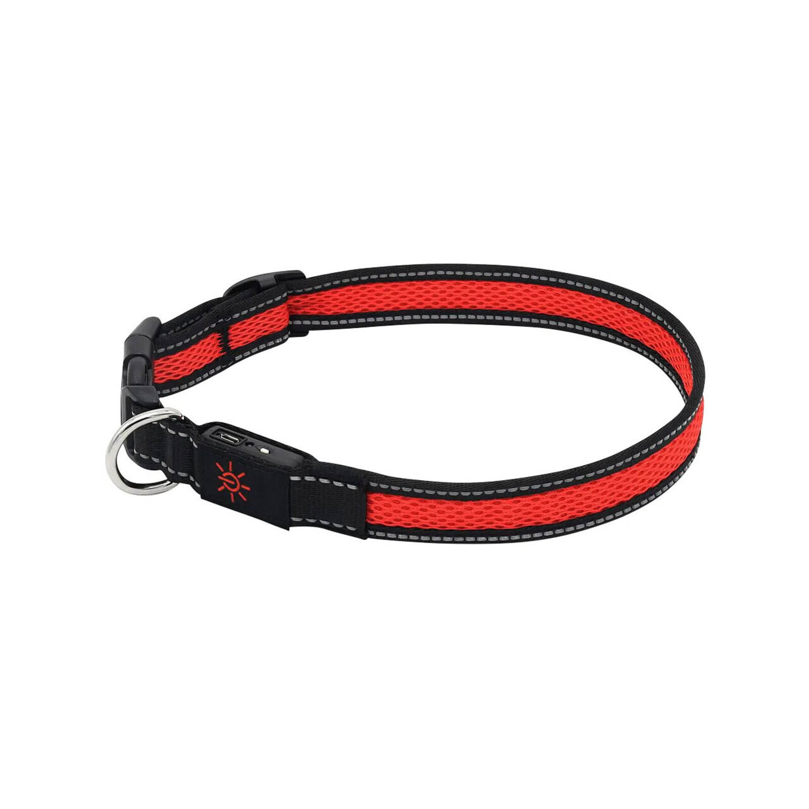 Mighty 28-46cm LED Adjustable USB Dog Pet Collar Reflective Light-Up Small Red