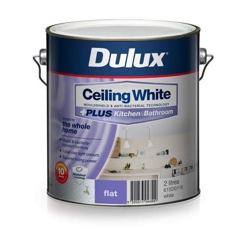 Dulux White Ceiling +PLUS Kitchen and Bathroom Paint - 2L