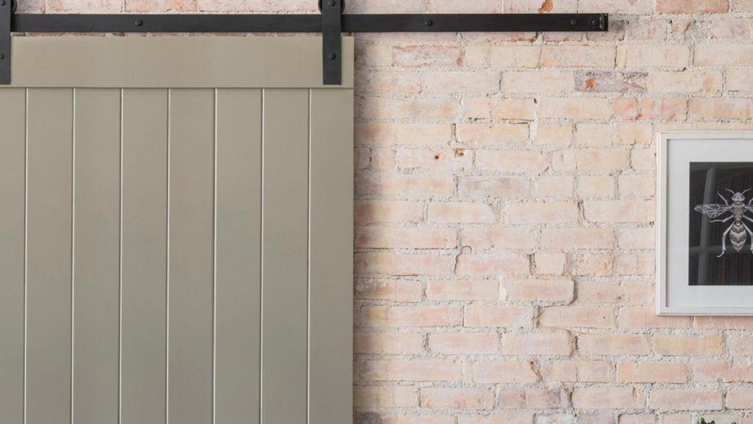 Barn-style sliding door.