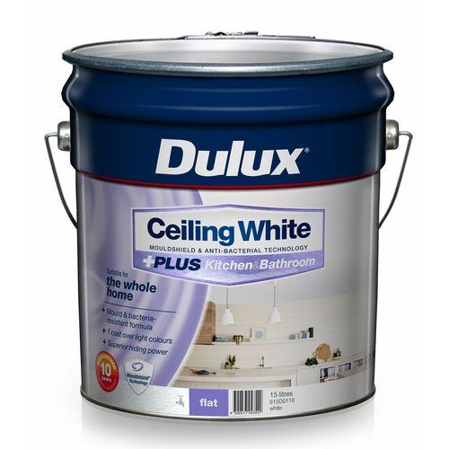 Dulux White Ceiling +PLUS Kitchen and Bathroom Paint - 15L