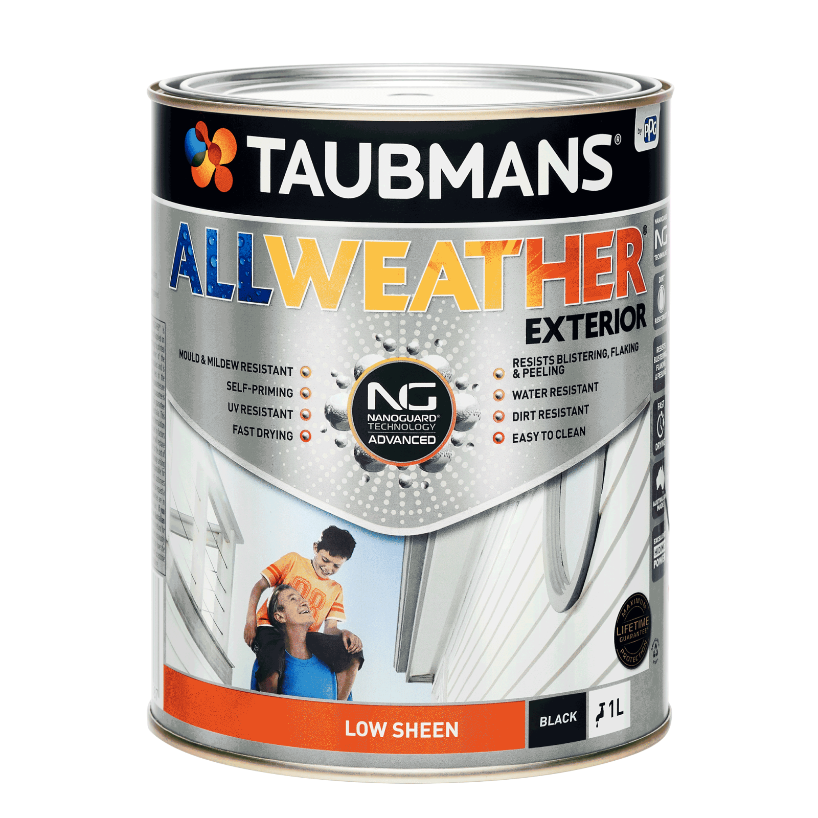Taubmans 1L Black Low Sheen All Weather Exterior Paint
