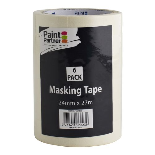 Paint Partner 24mm x 27m Thick Masking Tape - 6 Pack