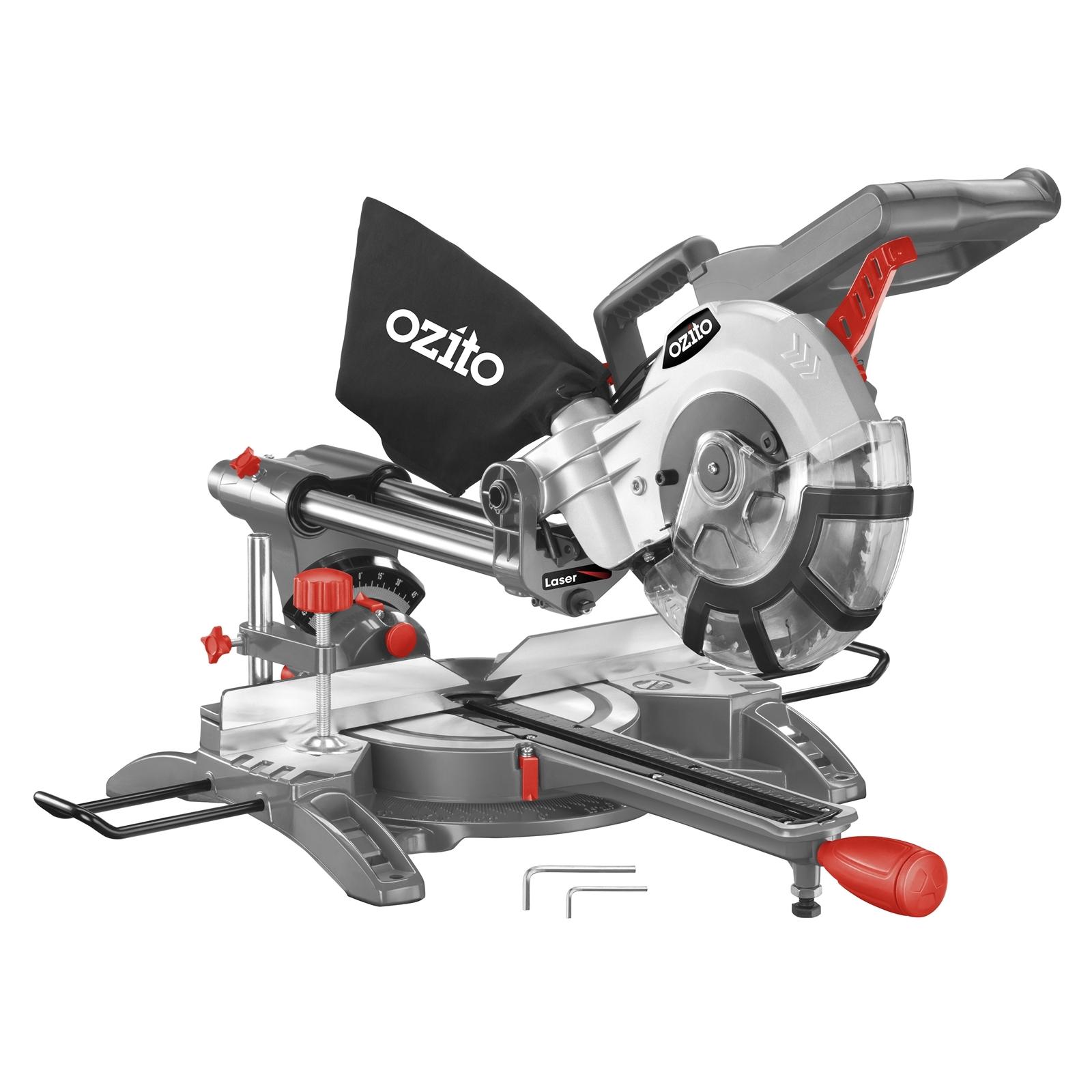 """Ozito 210mm (8¼"""") 1800W Compound Sliding Mitre Saw"""