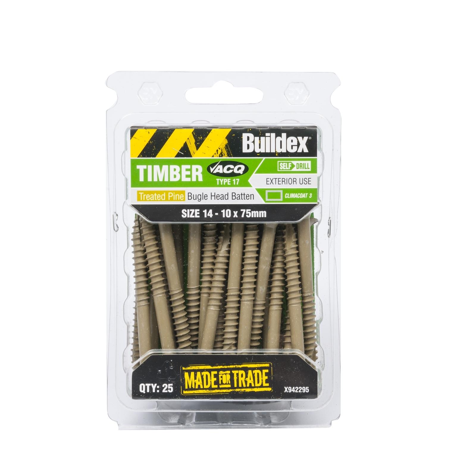 Buildex 14-10 x 75mm Climacoat Bugle Head Batten Timber Screws - 25 Pack