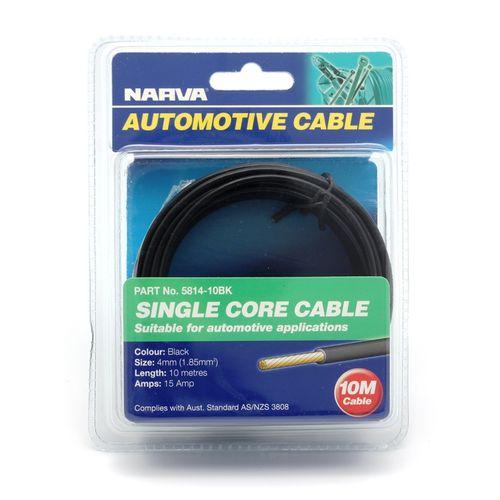 Narva 4mm x 10m 15Amp Black Single Core Cable