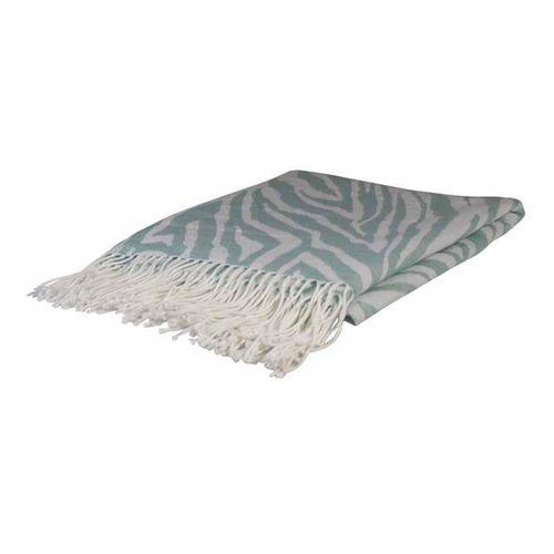 Zebra Aqua Jacquard Throw