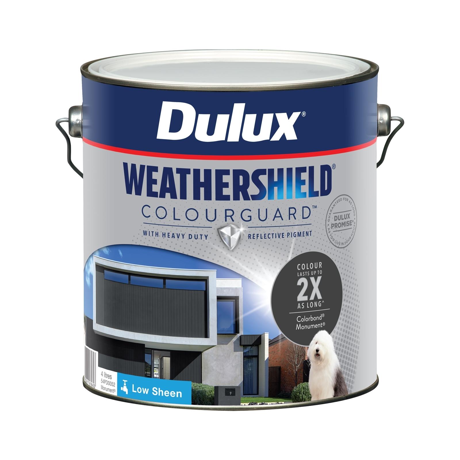 Dulux 4L Low Sheen Monument Weathershield ColourGuard Exterior Paint