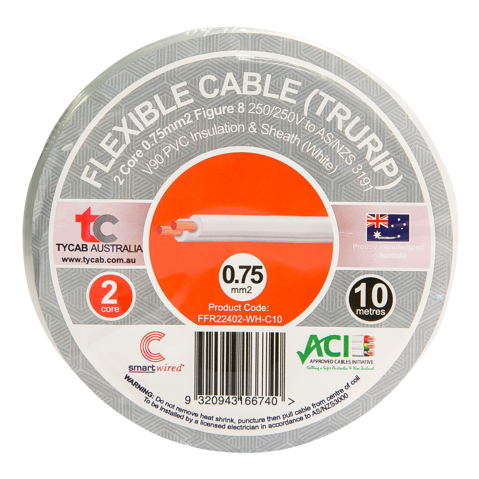 Tycab Cables 0.75mm² x 10m White 2 Core V90 Flexi Cable
