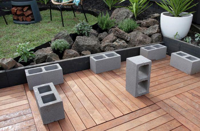 Concrete blocks sitting on deck.