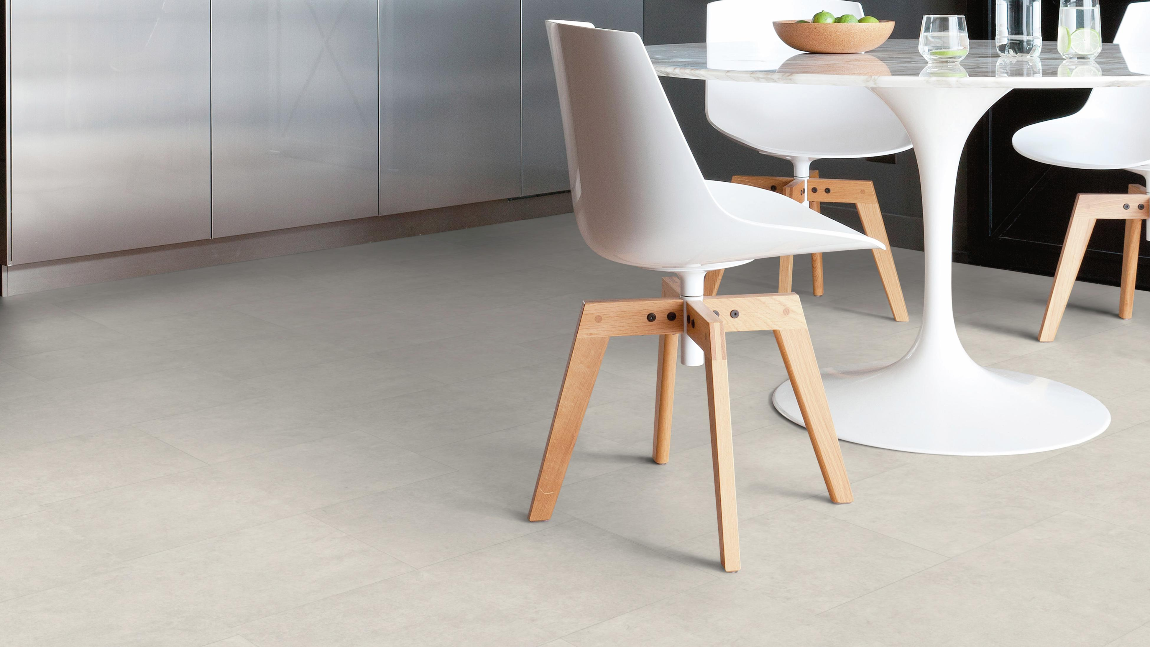 Vinyl floors in a kitchen and dining area