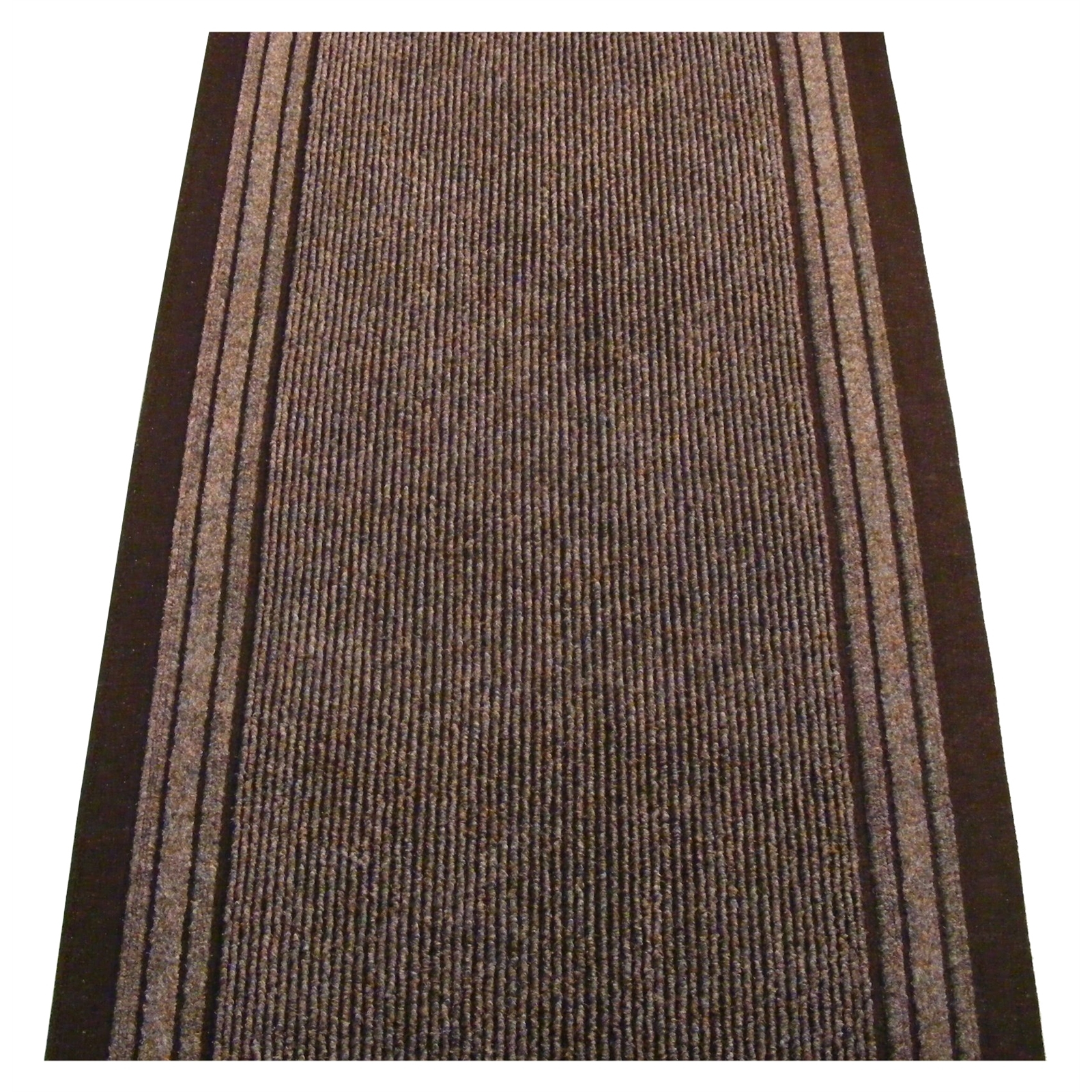 Ideal DIY 67cm Bristol Ribbed Brownborder Carpet Runner - Per Linear Metre