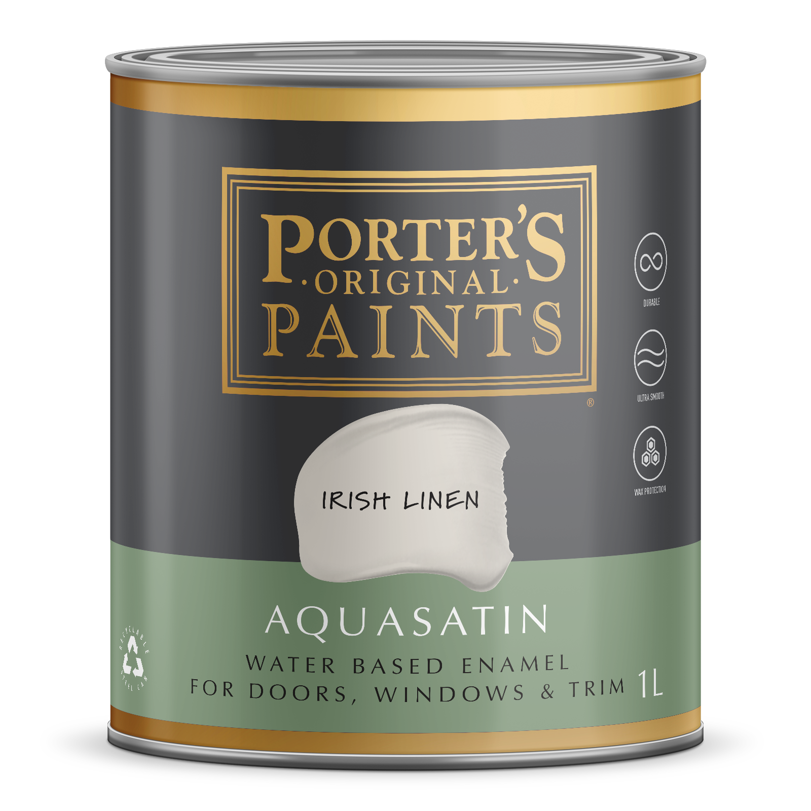 Porter's 1L Aquasatin Enamel Irish Linen Washable Paint