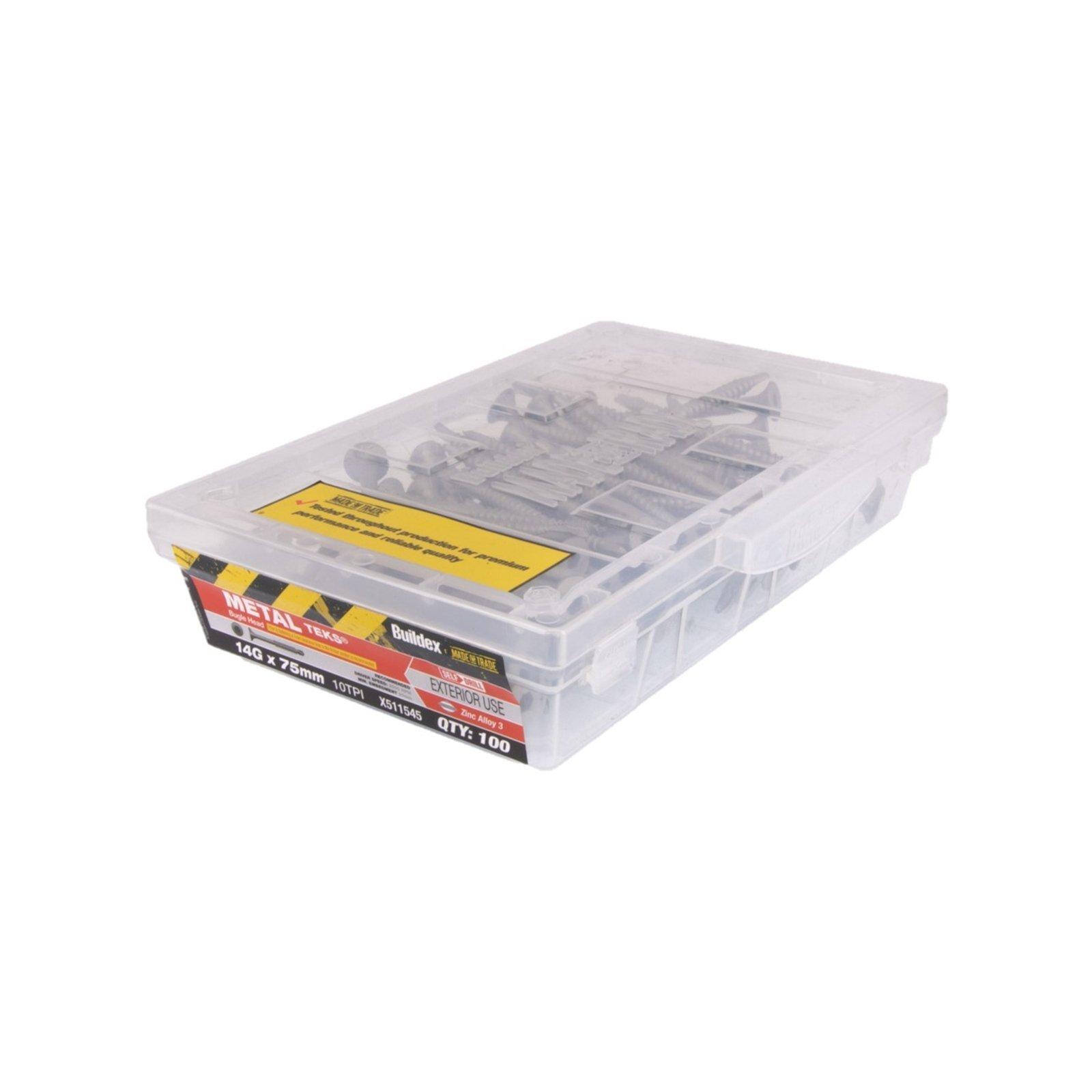 Buildex 14g x 75mm Zinc Alloy Bugle Batten Tek Screw - Box Of 100