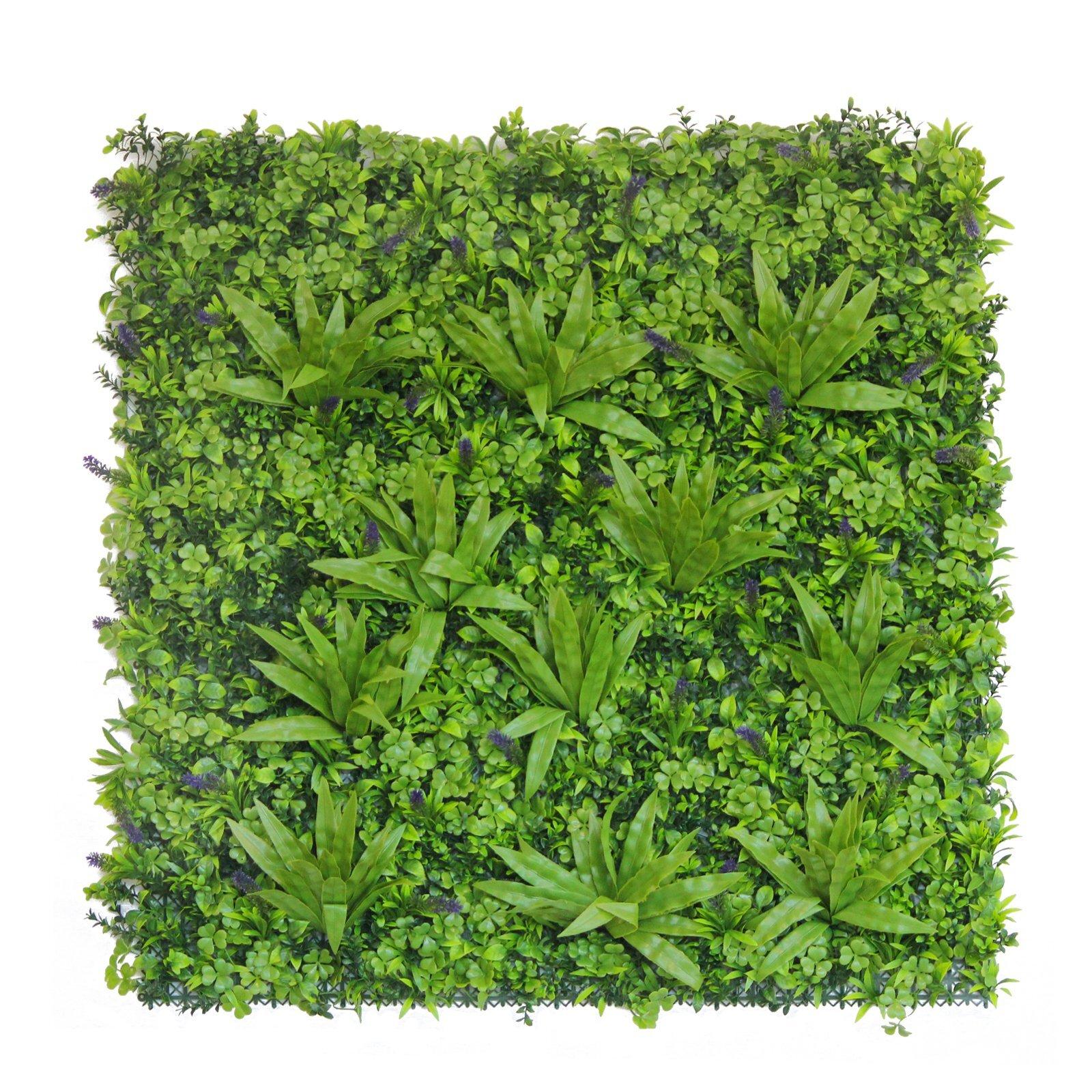 UN-REAL 100 x 100cm Luxury Artificial Hedge Tile - Tropical Lavender