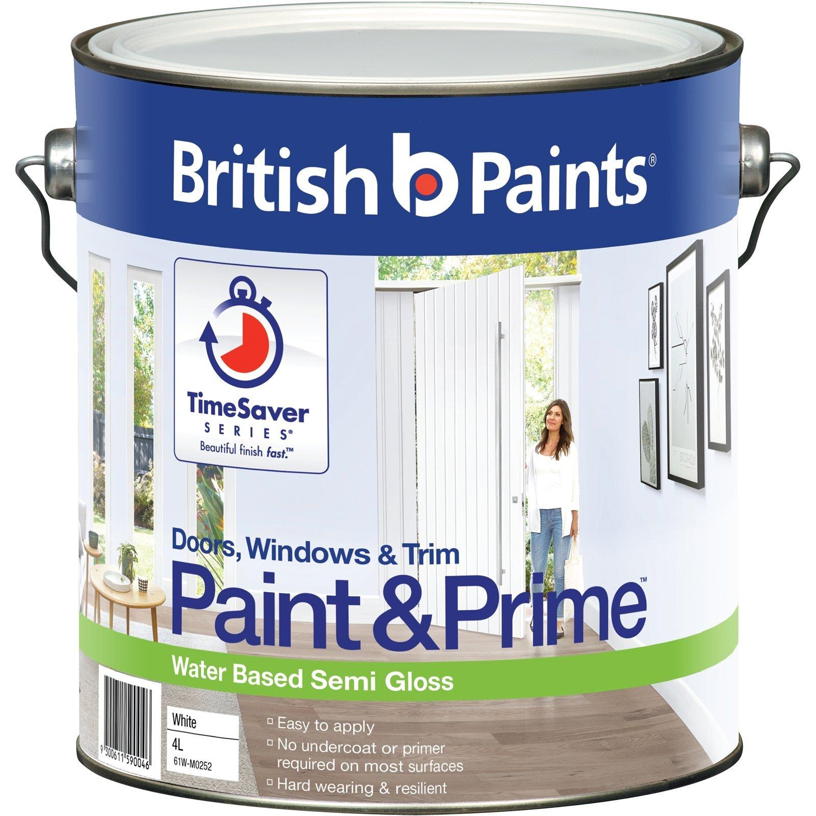 British Paints Paint&Prime 4L Semi Gloss White Doors, Windows And Trim