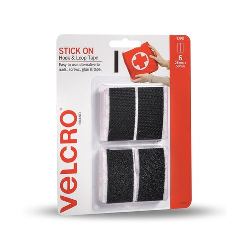 VELCRO® Brand 25 x 50mm Black Stick-on Hook and Loop Tape - 6 Pack