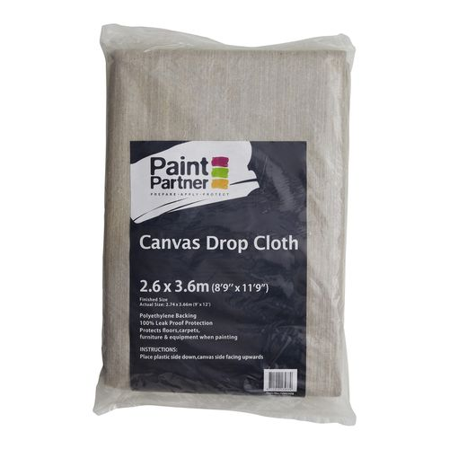 Paint Partner 2.6 x 3.6m Plastic Backed Canvas Drop Sheet