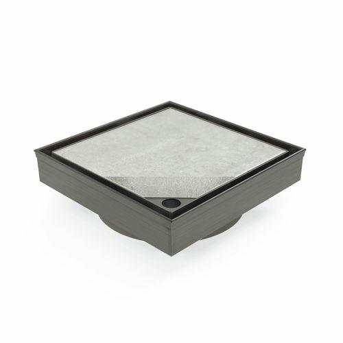 Forme 110 × 110mm Brushed Gun Metal Grey PVD Stainless Steel Tile Insert  Floor Waste